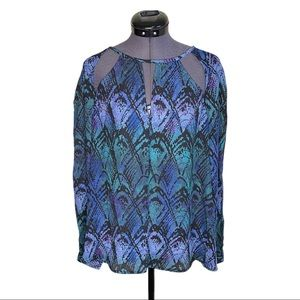 UO Ecote Cut Out Abstract Patterned Blouse Top